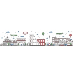 Travel in Rome city line flat design banner vector image vector image