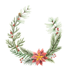 watercolor christmas wreath with fir vector image