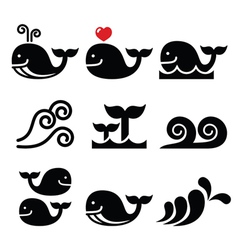 Whale sea or ocean waves icons set vector