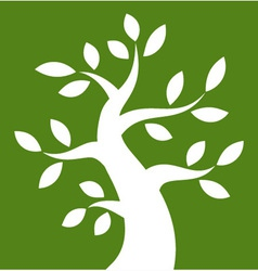 White bold tree icon on green rectangle vector