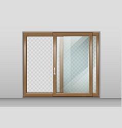 wooden sliding door vector image vector image