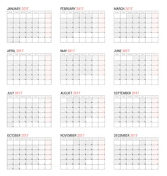 Yearly wall calendar planner template vector