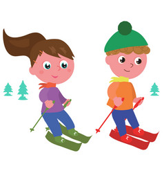 Young skiers isolated vector