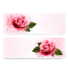 Holiday banners with pink beautiful roses vector