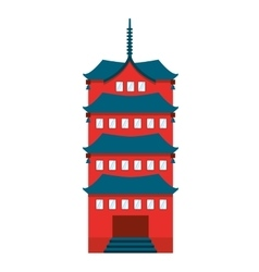 Building temple japanese icon vector