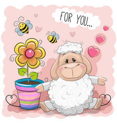 Greeting card cute cartoon sheep with flower vector
