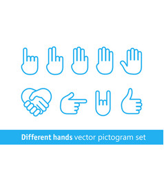 Different hands pictogram set different lineart vector