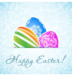 Easter Background with Decorated Eggs vector image