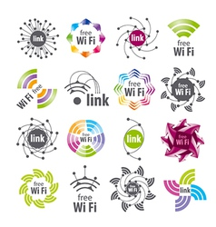 Collection of logos wifi connection vector