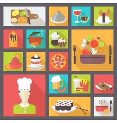 Food icons set for cooking restaurant fast food vector