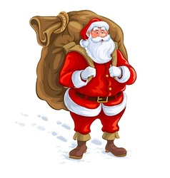 Santa claus with big sack of vector image