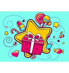 Gift box and confection on green backgro vector