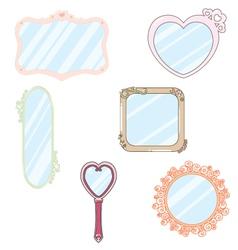 6 cute kawaii mirror vector