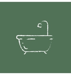 Bathtub with shower icon drawn in chalk vector