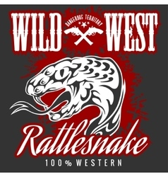Wild west and rattlesnake - vintage artwork vector