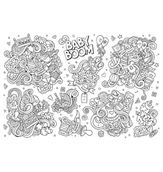 Sketchy hand drawn doodle cartoon set of vector