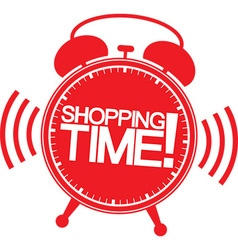 Shopping time alarm clock vector