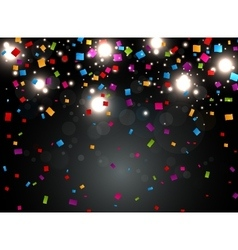 Colorful confetti with light on night background vector