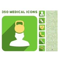 Patient Stress Icon and Medical Longshadow Icon vector image
