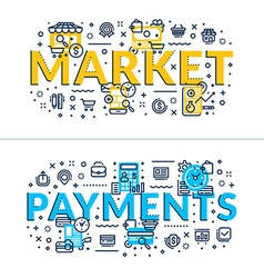 Market and payments headings titles horizontal vector