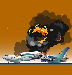 aircraft accidents isolated vector image vector image