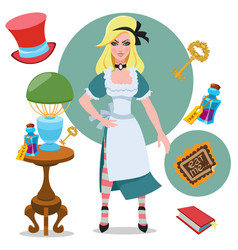 alice beside the table with magical objects and vector image vector image