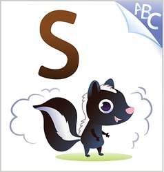 Animal alphabet for the kids S for the Skunk vector image vector image