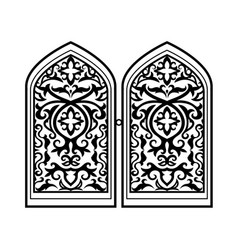 arabic window black silhouette vector image vector image