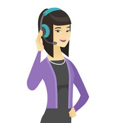 Asian customer service operator in headset vector