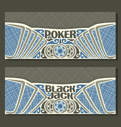 banners for black jack and poker vector image