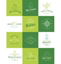 beauty healthcare spa badge logo set nature skin vector image