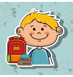 Boy student bag color book vector