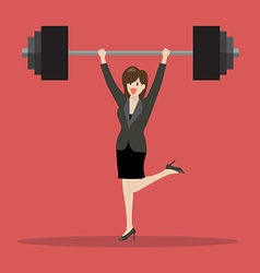 Business woman lifting a heavy weight vector image vector image