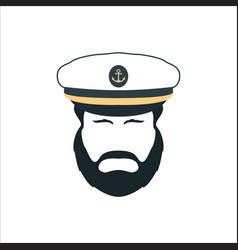 Captain face silhouetteskipper in a hat emblem vector
