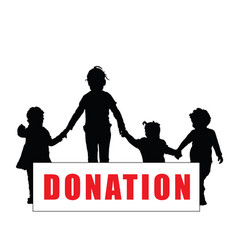 children silhouette with donation transparent art vector image