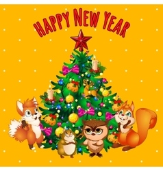 Christmas tree and the team of animal friends vector image vector image