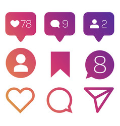 Colorful like icons follower commets location vector