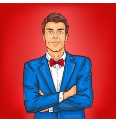 Confident pop art man in a suit and bow tie vector