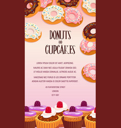 cupcake and donut pastry dessert banner design vector image vector image