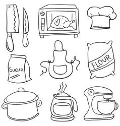 Doodle kitchen set hand draw vector