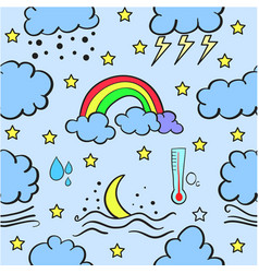 Doodle of weather with cloud set vector