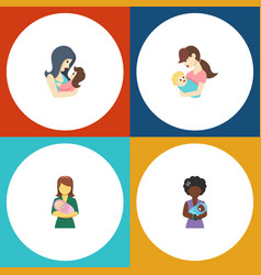 Flat icon parent set of mam woman child and vector