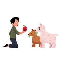 Flat teen boy feeding small pig vector