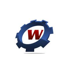 Gear logo letter w vector