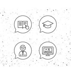 instructions graduation cap and video tutorial vector image vector image