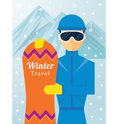 Man with snowboard vector