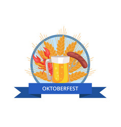 Oktoberfest logo design with glass of beer grill vector
