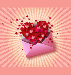 open envelope with red hearts vector image vector image