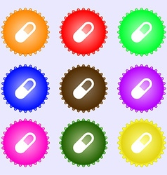 Pill icon sign big set of colorful diverse vector