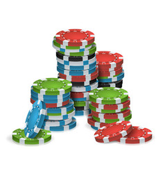 Poker chips stacks plastic white red vector